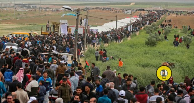 Palestinians taking part in the Great March of Return Protests near Gaza-Israel border
