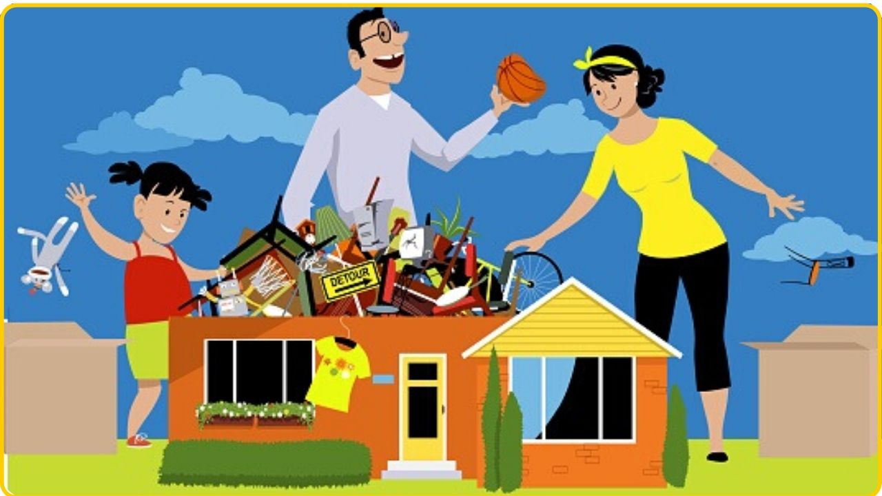 family decluttering organizing home