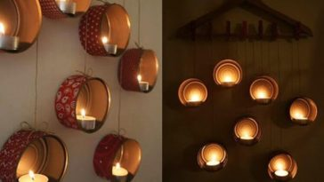 turn aluminium food cans into candle holders