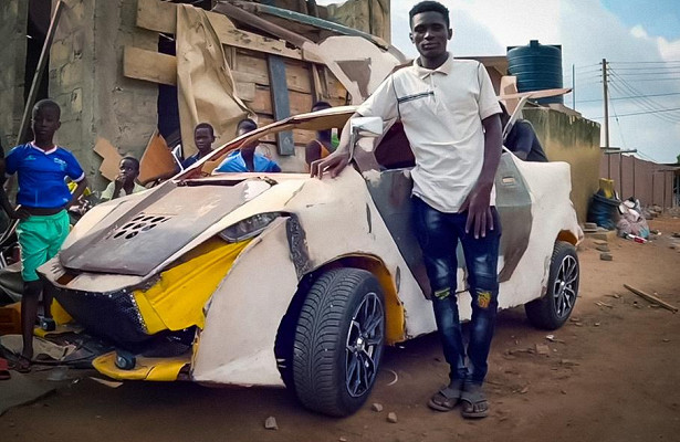 african teenager builds his own car under usd 200
