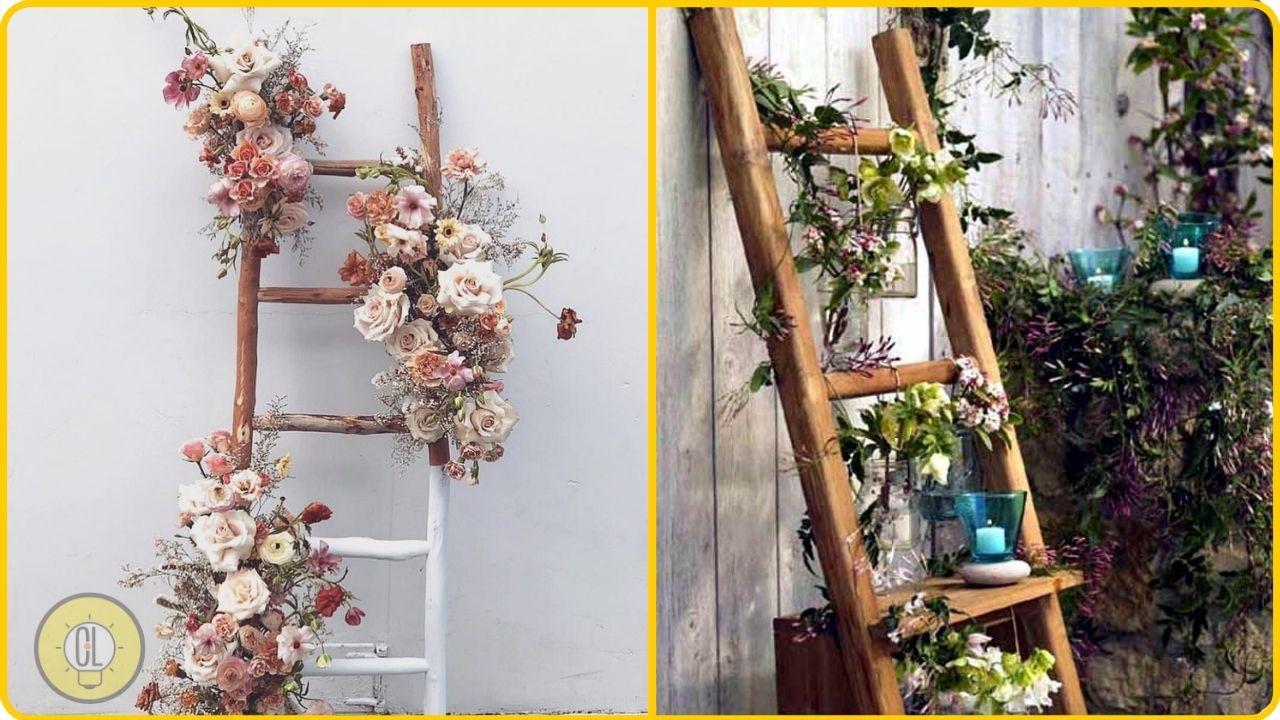 rustic ladder flower garden decoration